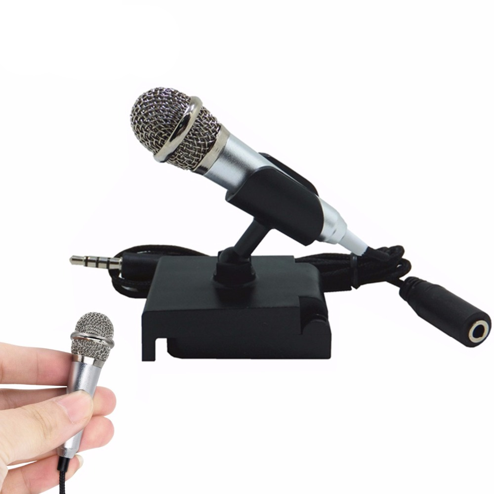 Portable Mini smart microphone, Stereo Condenser Mic for for mobile phone PC Laptop Chatting Singing Karaoke 3.5mm set heat live broadcast sound card professional bm 700 condenser mic with webcam package karaoke microphone
