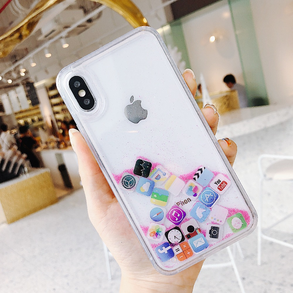 Cute Amusing Mobile apps Icon pattern phone Case cover For iphone X 6 6s Plus 7 8 plus XS MAX XR Glitter Liquid Quicksand Cases in Fitted Cases from Cellphones Telecommunications