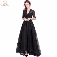 Walk Beside You Black Lace Evening Dresses Half Sleeves Deep V Neck Beaded Prom Gown Short