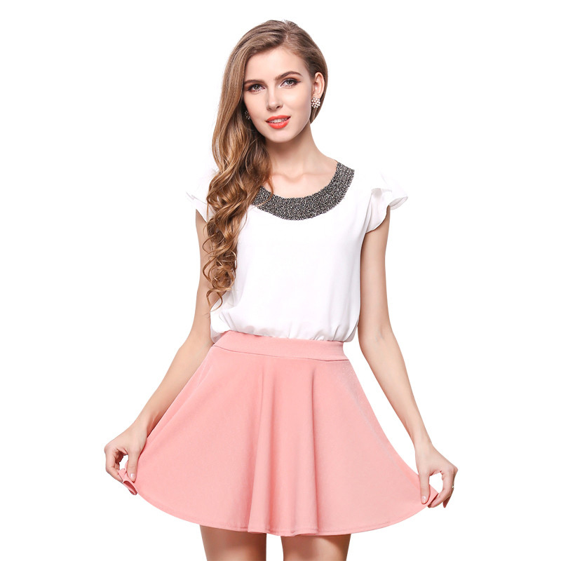 2017 New Summer Women Skirt Chiffon Mini Pleated Sexy ...