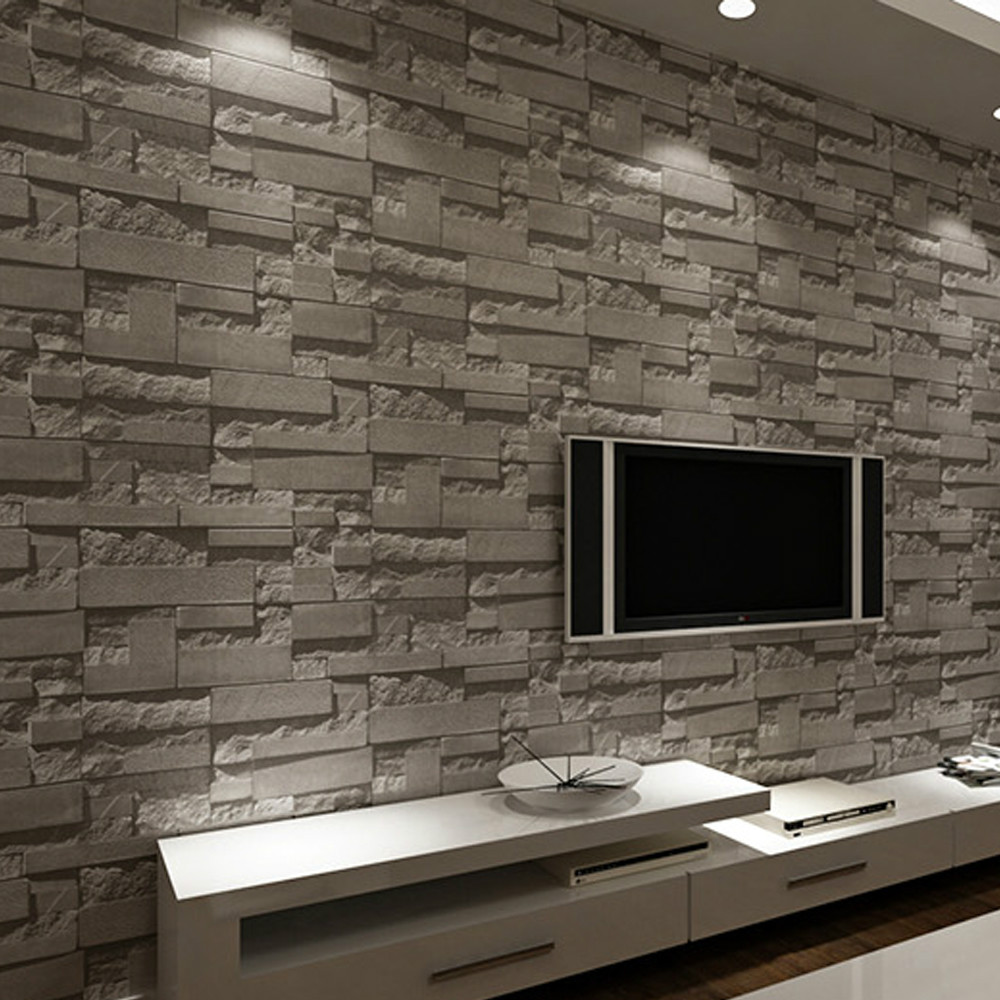 Brick 3d picture more detailed picture about modern for Grey brick wallpaper living room