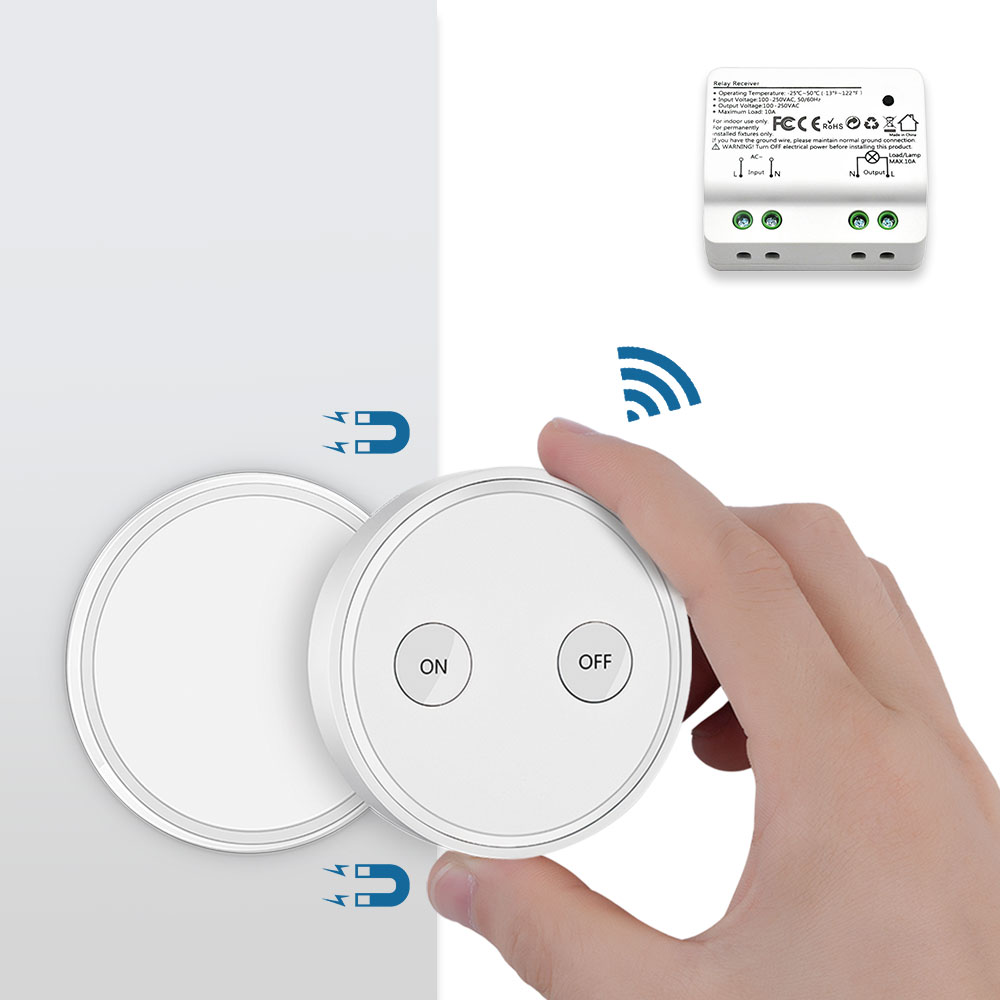 Magnetic Remote Control Wireless Light Switch 200m Range 2500w Lighting For Lights Lamps On Off No Wire Needed