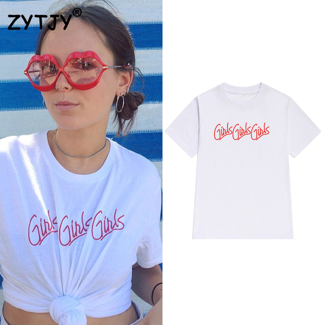f58a7fd6 girls girls red Letters Print Women tshirt Cotton Casual Funny t shirt For  Lady Girl Top Tee Hipster Tumblr Drop Ship Z-1060