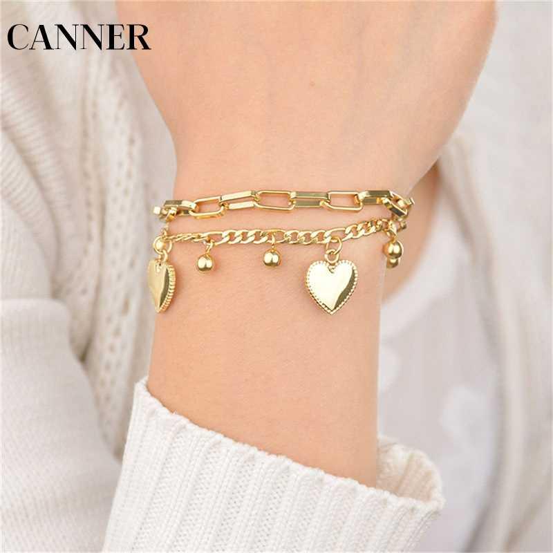 CANNER Trendy osobowość biżuteria wielowarstwowe łańcuch przedłużający koralik serce złoty kolor koralik bransoletki dla kobiet prezent R4