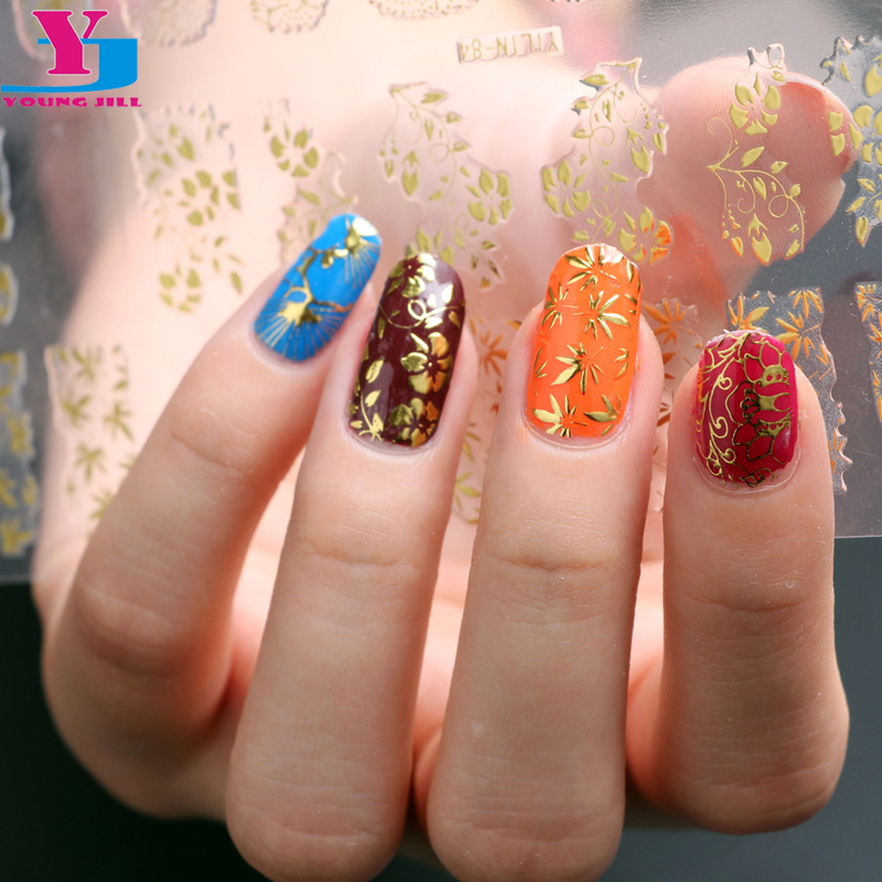 2016 top quality gold 3d nail art sticker metallic nail for 3d nail art decoration