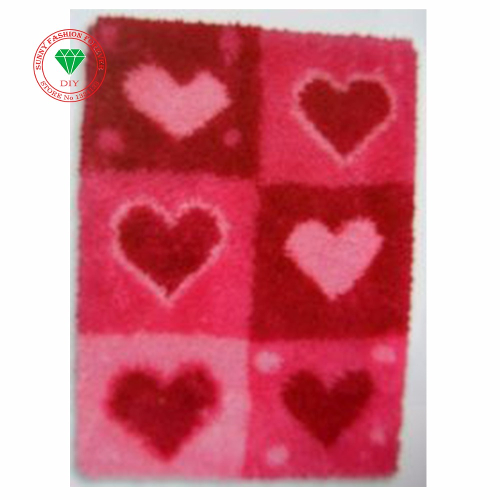 Needlework Latch hook rug kits Heart carpet kids sets for embroidery Stitch threads Carpet embroidery cross-stitch kits carpet