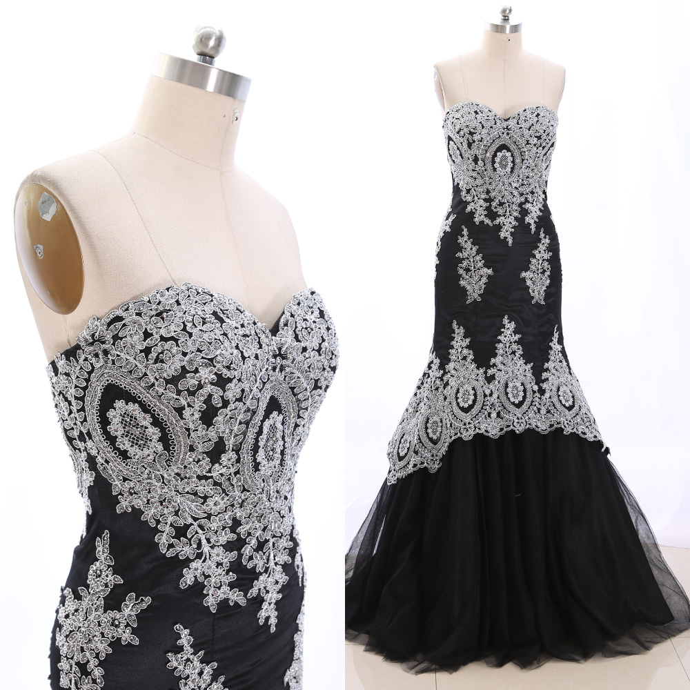 MACloth Black Mermaid Strapless Floor-Length Long Embroidery Tulle   Prom     Dresses     Dress   L 265543 Clearance