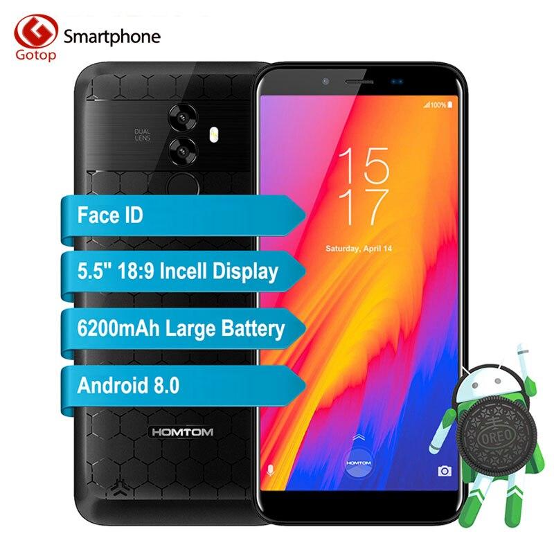 HOMTOM S99 Android 8,0 MT6750 Восьмиядерный 5,5 дюймов 18:9 Экран смартфон 4 ГБ Оперативная память 64 ГБ Встроенная память 6200 мАч Батарея Face ID мобильного теле...