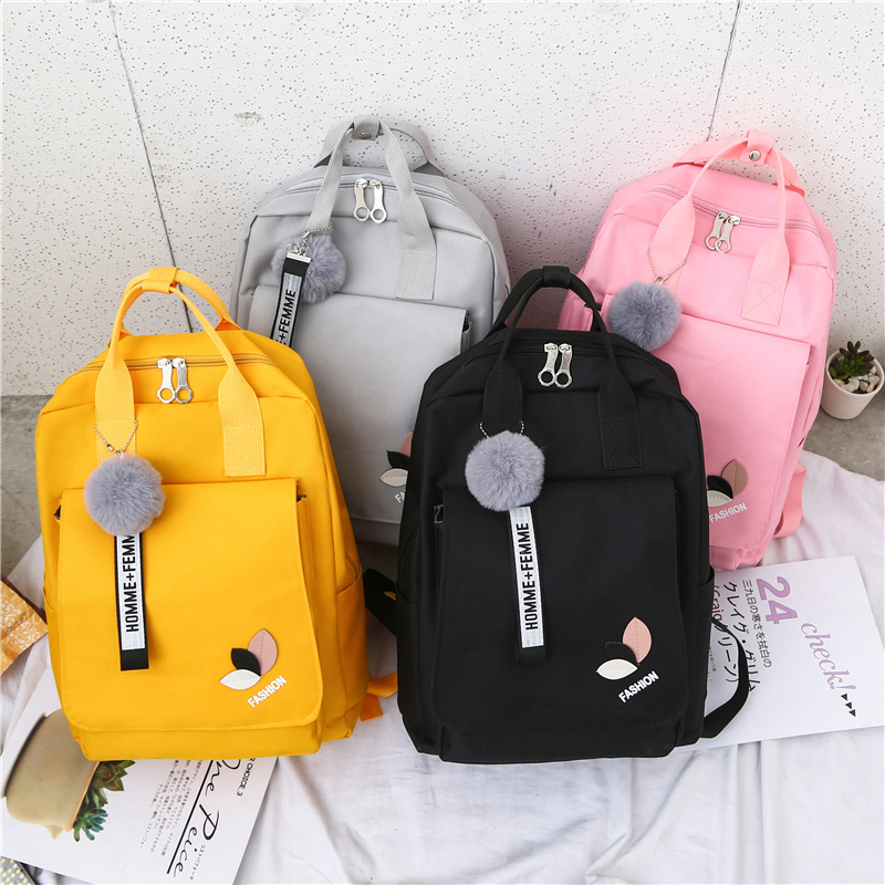 2019 Canvas Women Backpacks School Bags For Teenager Girls Student Larger Capacity Pink Travel Backpack Rucksack Female Book Bag