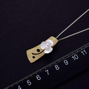 Image 4 - Женский кулон в виде цветка клевера Lotus Fun, кулон без цепочки из серебра 925 пробы с натуральным жемчугом, ювелирное изделие из 18 каратного золота