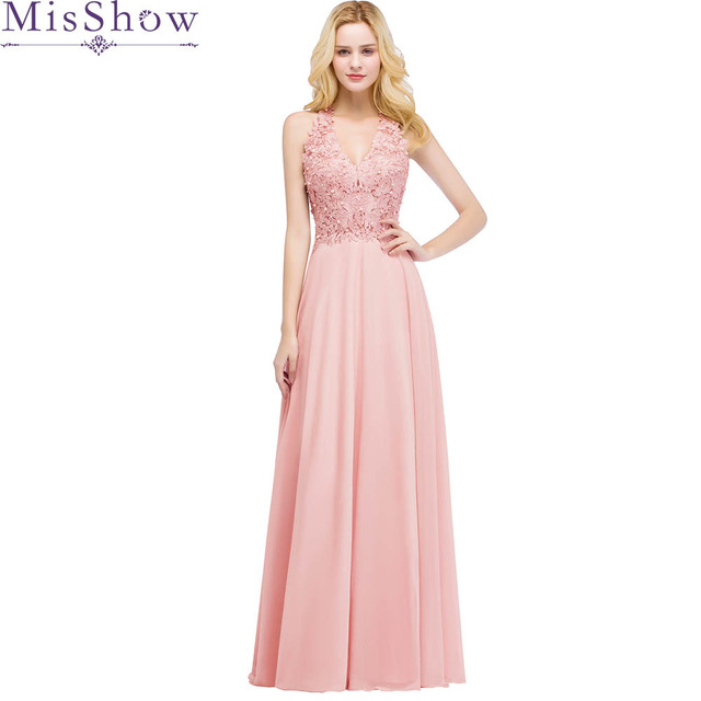2019 Beautiful Pink Pearl Evening Dresses Long Women Wear Party Prom A Line  Formal Evening Gowns Dresses robe de soiree longue a0f067ddd421