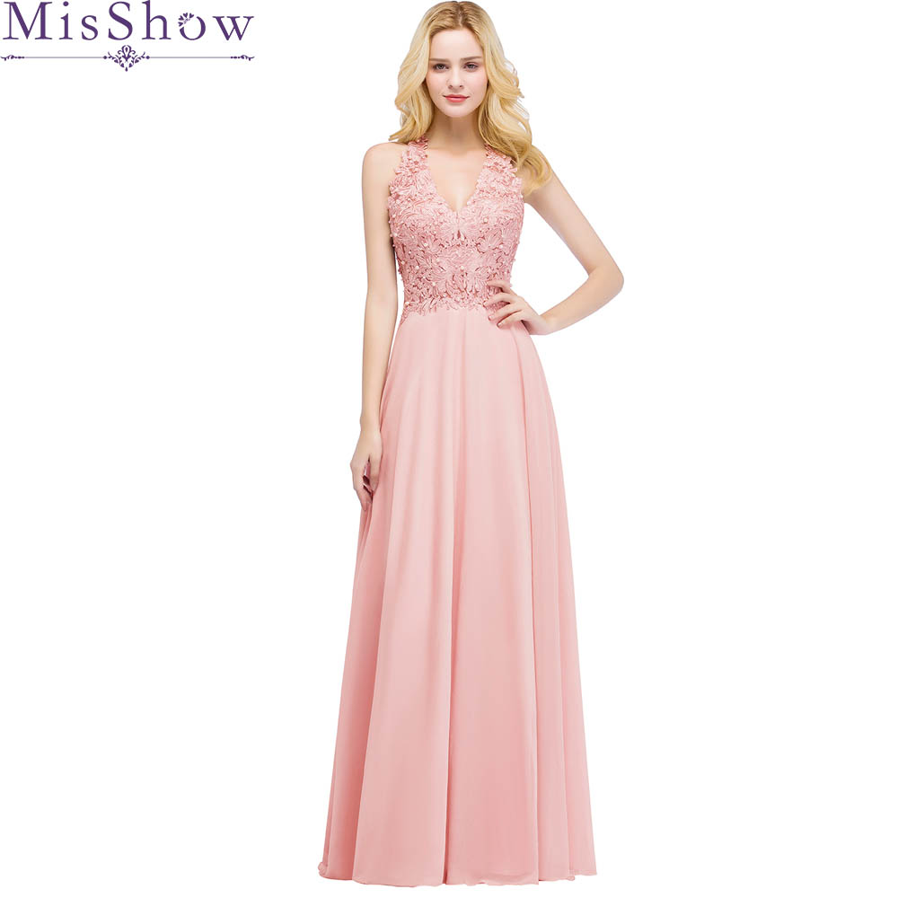 2019 Beautiful Pink Pearl   Evening     Dresses   Long Women Wear Party Prom A Line Formal   Evening   Gowns   Dresses   robe de soiree longue