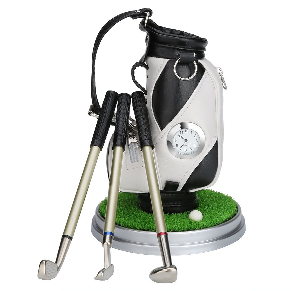 Image 5 - Caiton Mini Golf Bag Pen Holder With Lawn Base Clock And Three Golf Club Pens Decoration Gift-in Golf Training Aids from Sports & Entertainment