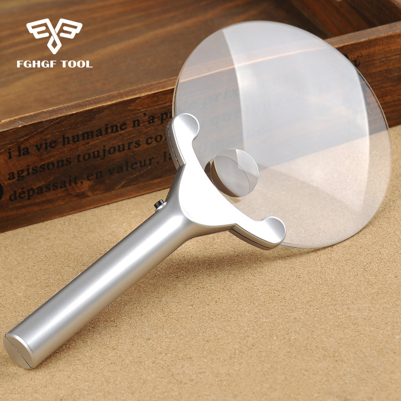FGHGF 2x 6x 130mm käeshoitav kaasaskantav valgustusega suurendusklaas luupidega tööriist, millel on 2 LED-lampi