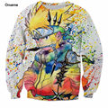 Size S-6XL Rainbow Paint Naruto 3D Sweatshirt Mens Ninja Anime Crewneck Pullovers Harajuku Hip Hop Outerwear Galaxy Sweatshirts
