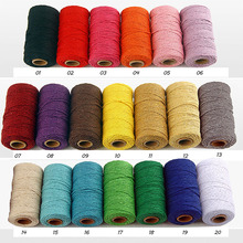 100Yards/Roll Pure Cotton Twisted Cord Rope Crafts Macrame Artisan String Multicolor Linen Home Textiles 20Color