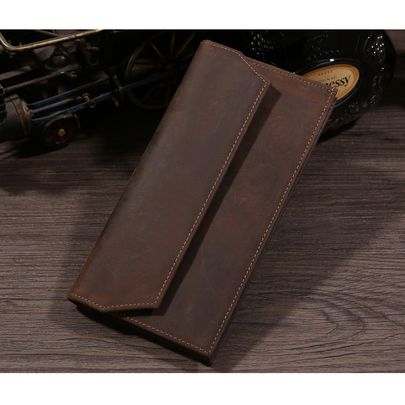 ФОТО TIDING Vintage Handmade MEN Real Leather Wallet Cash Card ID Holder Long Wallet Purse Cell Phone Case 4075