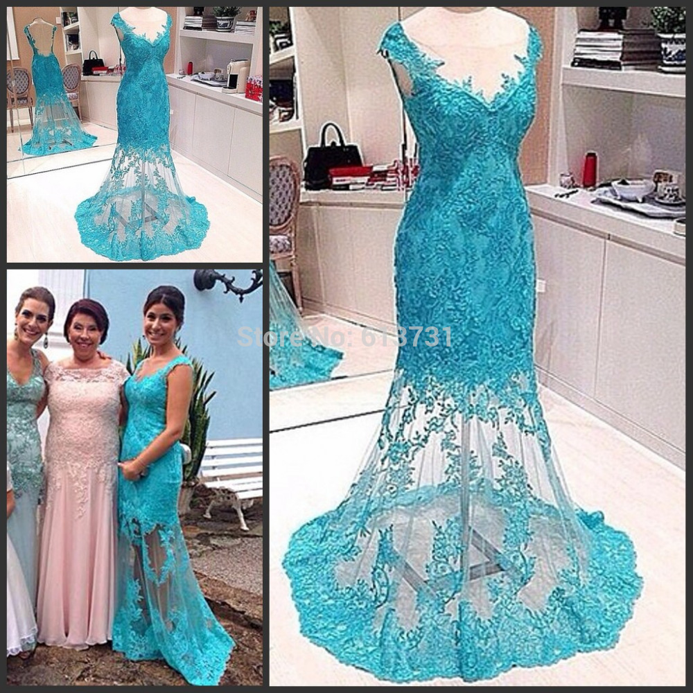 Buy Real Sample Blue Cap Sleeves V Neck Lace Backless Prom Dress Mermaid Evening Gown Women Vestidos de Fiesta for only 158 USD