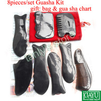 8pcs/lot Acupuncture Massage tool Gua sha kit 100% ox Horn slimming face facial skin care thin face Vline relaxation