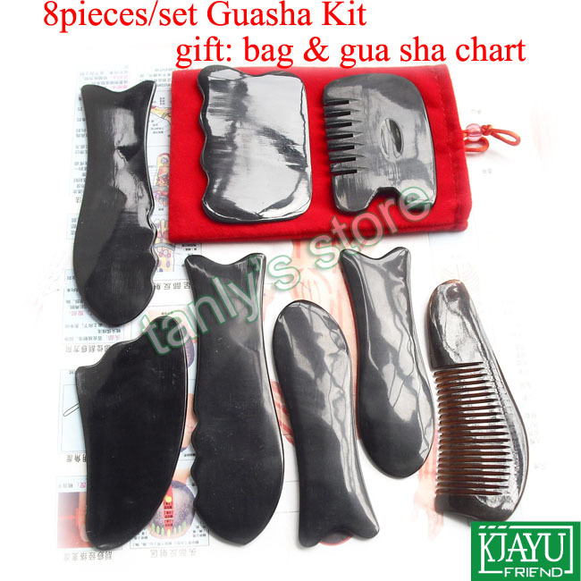 цена 8pcs/set good quality Traditional Acupuncture Massage tool Gua sha kit 100% ox Horn gift beauty box & guasha chart