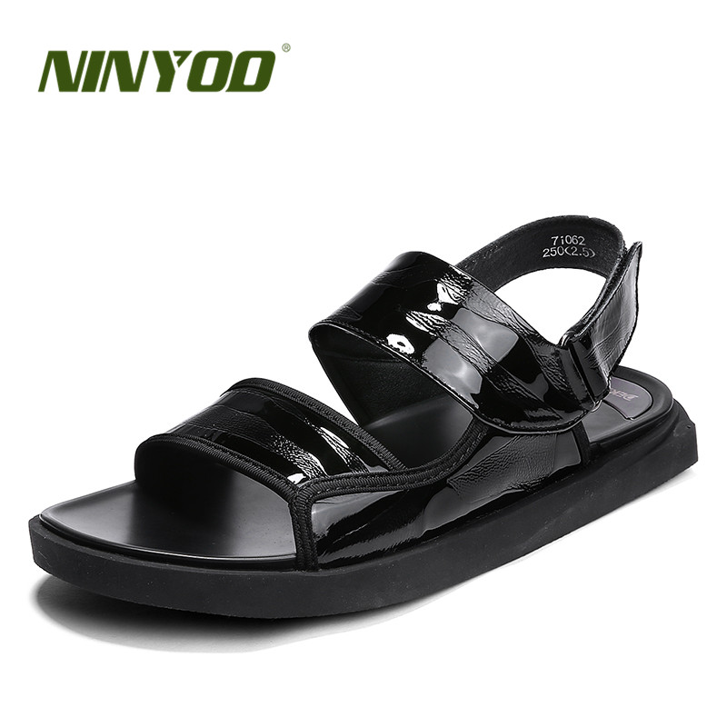 NINYOO New Fashion Summer Shoes High Qulaity Men Sandals Genuine Leather Sandals Casual Shoes Rubber Beach Sandals Size 47 48 49