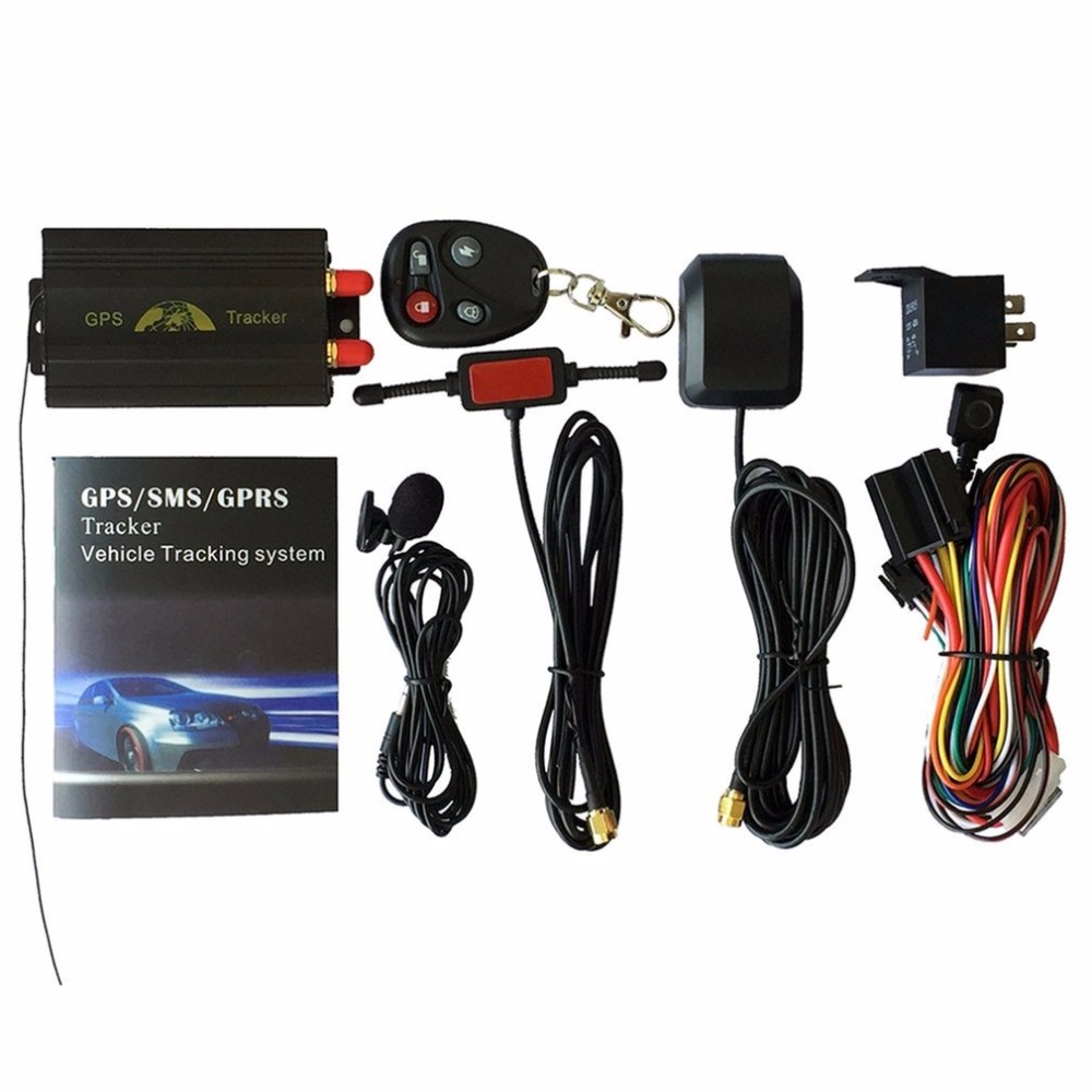 Portable Car GPS Tracking System GPS SMS GPRS Vehicles Tracker Locator TK103B With Remote Control Black drop shipping car gps tracker coban tk103b gsm gprs tracking system gps103b motorcycle alarm location tracker remote control cut off oil power