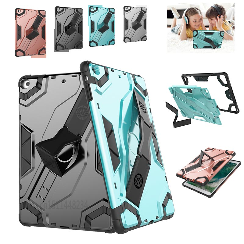 Kids Shockproof Hard PC Armor Case For iPad Air A1474 A1475 6 Stand Holder Soft TPU Silicon cover For iPad 5 Tablet protection case for huawei honor 7x shockproof with stand 360 rotation back cover contrast color hard pc