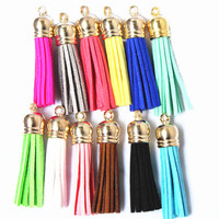 100pcs Vintage Leather Tassel Superfine Fiber Tassel Accessories For Keychains Earrings Golden Cap Charming Pendant