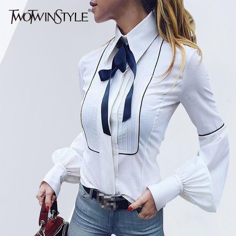 TWOTWINSTYLE Bow Lace Up Shirt Female Lapel Collar Patchwork Lantern Sleeve Blouse Spring Fashion Vintage Tops 2020 Clothing