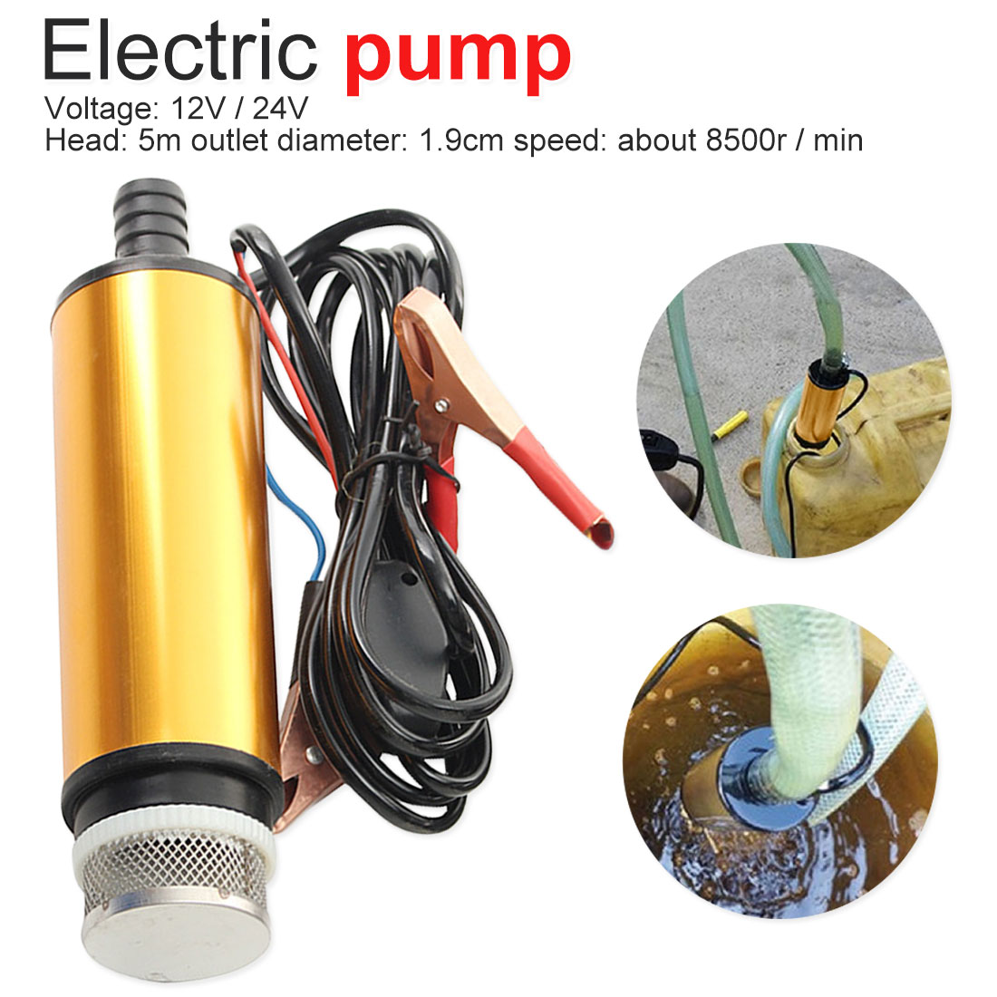 DC 12V Aluminum alloy Submersible Electric bilge pump for diesel/oil/water/fuel transfer 12 v volt 24volt image