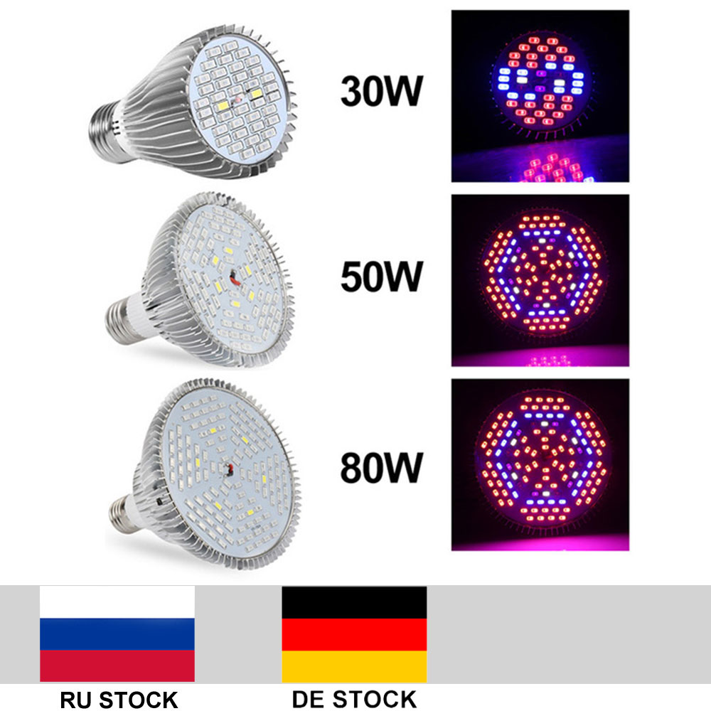 Growing Lamp E27 30W 50W 80W Full Spectrum 5730 Indoor LED Plant Bloom Grow Light For Flower Seedling Hydroponic Plant Grow Tent
