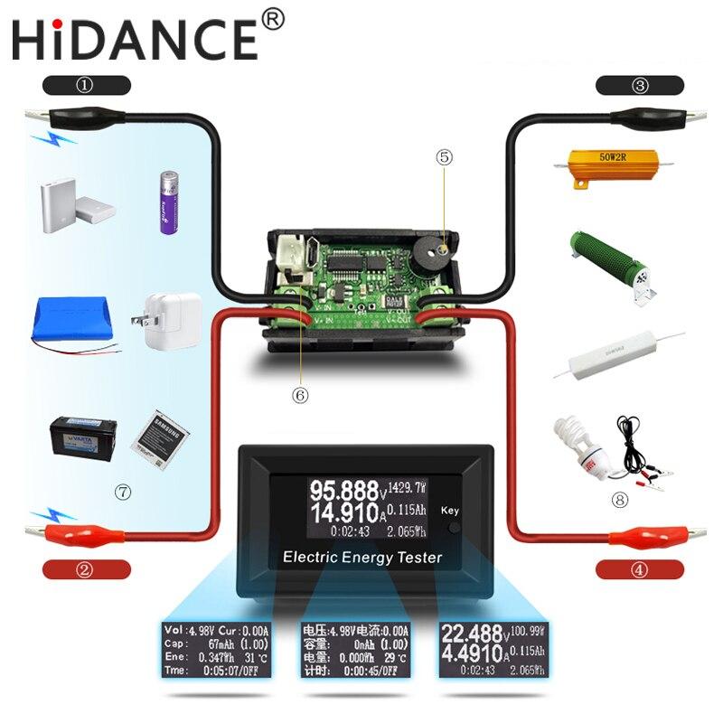 100 V 15A Metri LCD tester Energy Caricatore Digitale DC Voltmetro di Tensione di Corrente amperometro alimentazione a batteria capacità di rilevamento