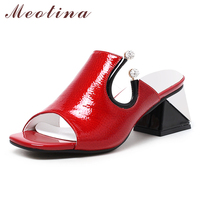 Meotina Women Sandals Spring Shoes Natural Genuine Square Heel Slippers Real Leather Crystal Party Shoes Ladies Red Size 34 39