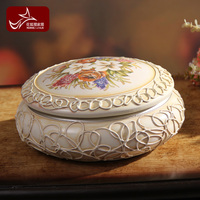 Free Shipping Luxury vintage decoration jewelry box new house crafts decoration white rustic ceramic jewelry box