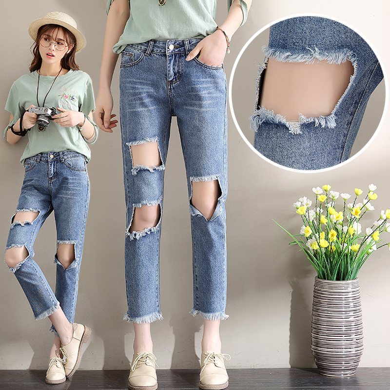 Summer Apparel Boyfriend Hole Ripped Jeans Women Pants Cool Denim Vintage Straight Jeans for Girl Mid