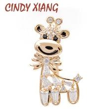 CINDY XIANG Cubic Zirconia Deer Brooches Unisex Animal Pin Women And Men Suit Brooch Kids Accessories Wedding Jewelry Gift недорого