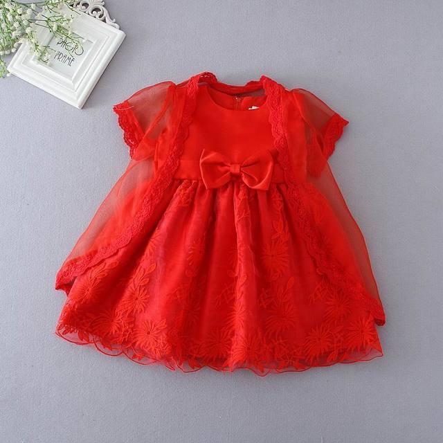 Retail Nuevo Bebé Occidental Vestido de Bautismo del Nacimiento Del Bebé Ducha Partido Bowknot Vestido + Chal Rojo 3-24 M 1108