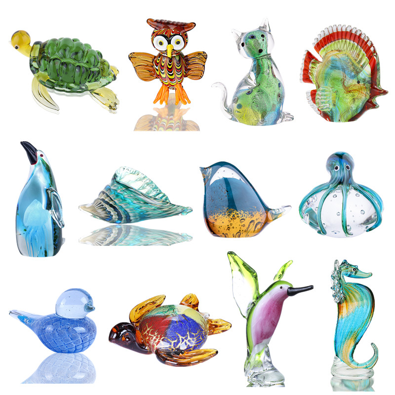 H&D 16 Styles Glass Animal Figurines Miniature Paperweight Handblown Modern Animal Gifts For Friends Home Decoration Accessories