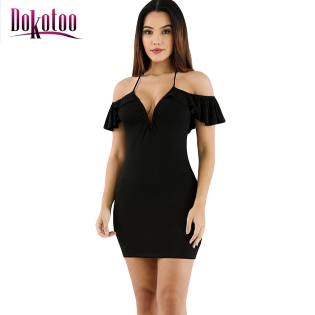b9f6c53179aa Dokotoo sexy Black Off The Shoulder Ruffle Mini Dress LC220008 summer style  women party short club