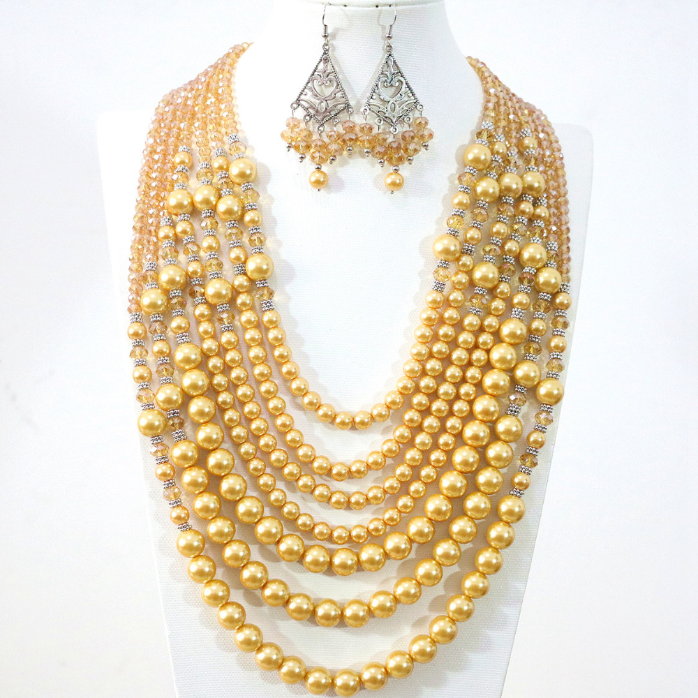 Charms gold yellow 7 rows necklace earrings round shell simulated-pearl crystal beads fashion diy Classic jewelry set B1314