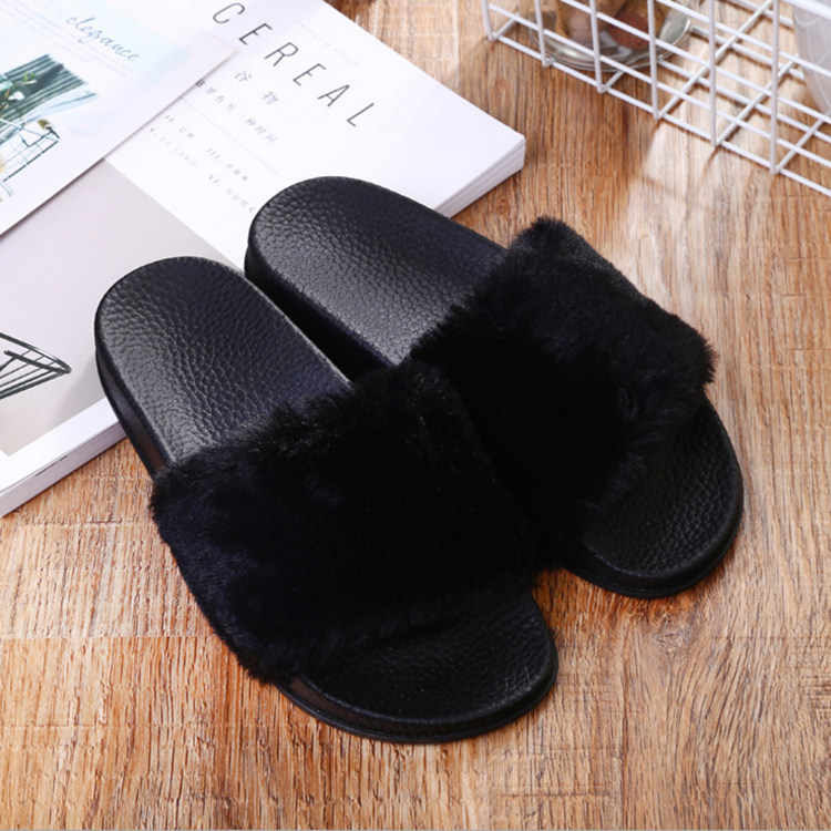 STAN SHARK Casual Slipper Sandaal Dames Slippers Dames Slip op Sliders Pluizige Faux Fur Flat Maat 36-40 Zwart slippers 4 kleur