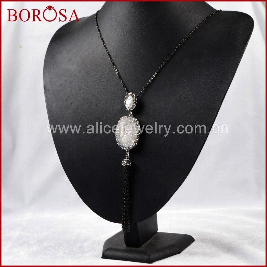 d106eba74c54 Borosa ¡ caliente! Collar vintage oval nueva cristal titanio AB Geode    nueva perla borla pavimentada ZIRCON negro cadena JAB161