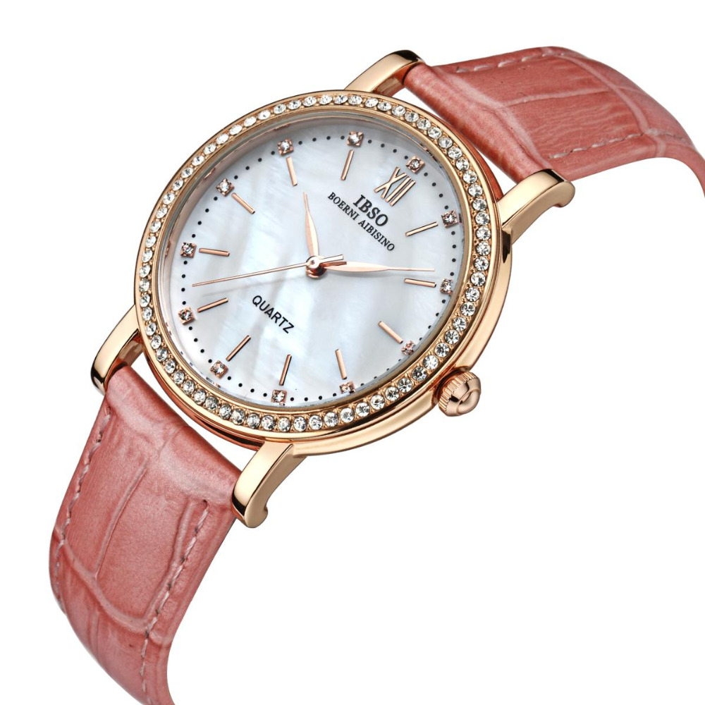IBSO 2019 Brand Fashion Woman Watches Leather Strap Watch Women Luxury Crystal Diamond Quartz Wristwatches For Women 3992