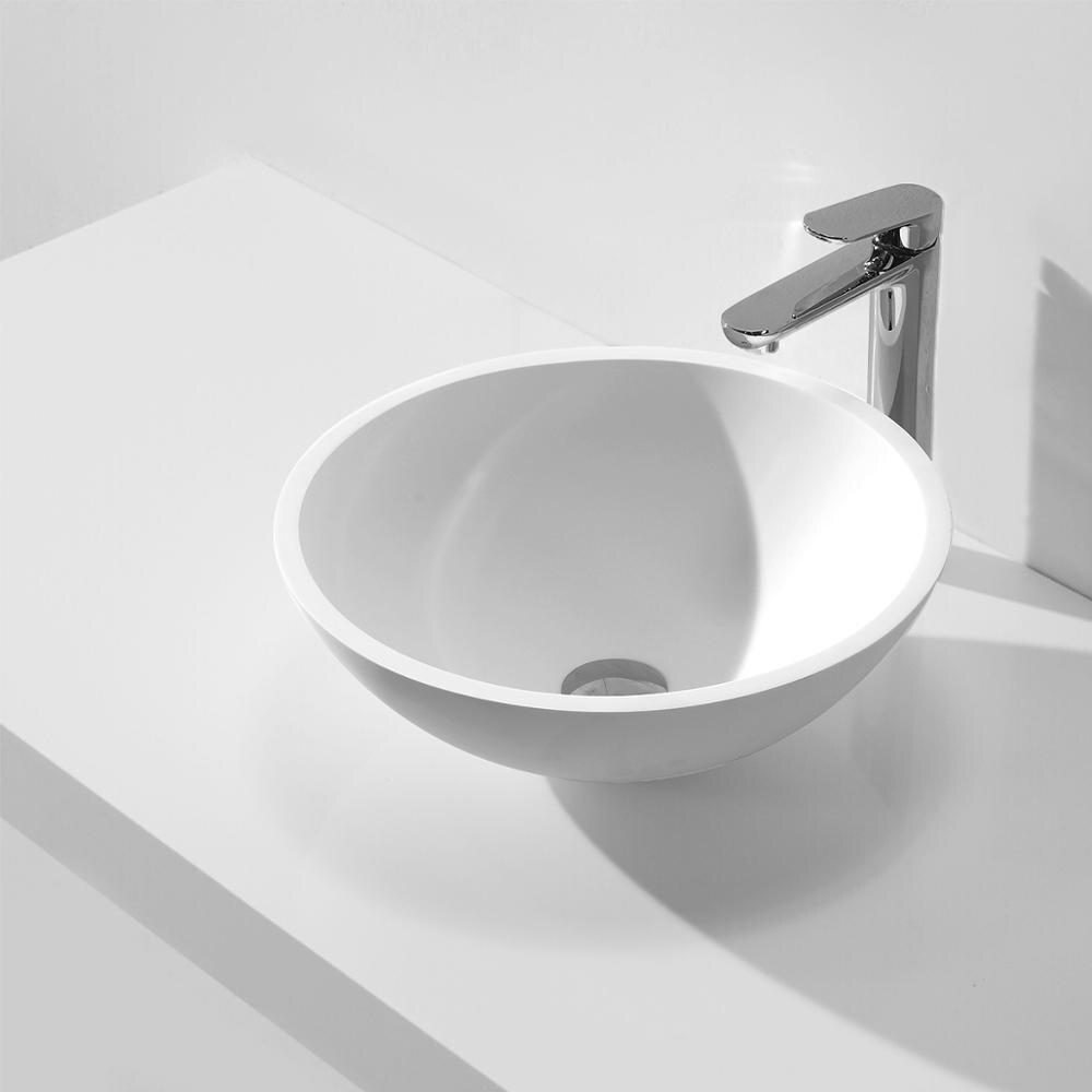 KKR surface solide pierre artificielle mat blanc ronde comptoir lavabo KKR-1513