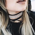 JOUVAL Black Choker Necklace Leather 2017 Women Long DIY Bow Chokers With Rhinestone Chocker Accessories N1665