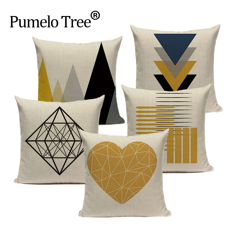 Home Textile Nordic Arrows Geometric Stripes Simple Square Beige Pillow Cases Sofa Chair Cushion Cover Shop House Home Decorations For Gift Table & Sofa Linens