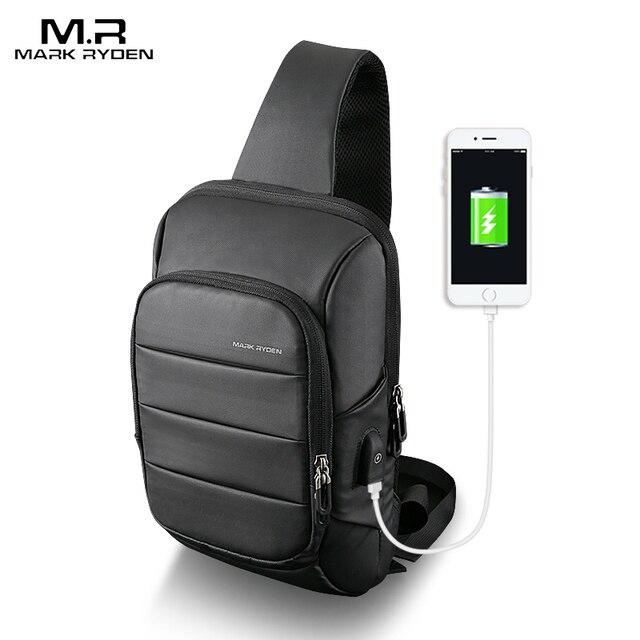 Mark Ryden 2019 Novo Saco Do Estilingue para os homens de Carregamento USB Bolsa de Ombro Pacote de Peito Grande Capacidade Resistente À Água Oxford Crossbody saco
