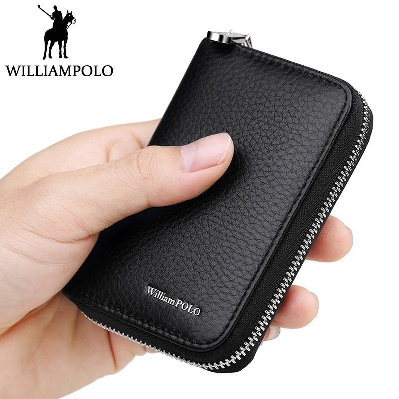 WILLIAMPOLO Men Credit Card Holders Luxury Brand Real Leather Card Wallet Fashion Zipper Design Id Holder Card Bag Cow Leather fashion solid pu leather credit card holder slim wallet men luxury brand design business card organizer id holder case no zipper