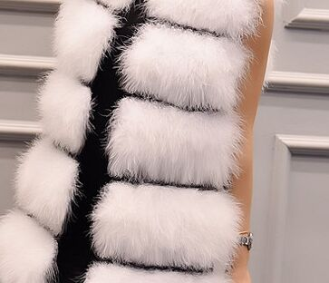 Новое поступление Винтажный стиль настоящий вязаный жилет из меха страуса жилет из натурального меха - Цвет: white