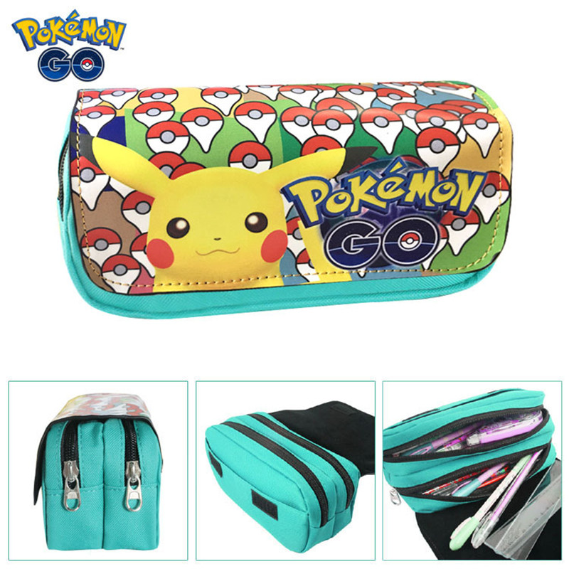 Hot Sell Game Pokemon Go Pencil Case Wallet Poke Eevee Pikachu Cosmetic Makeup Coin Pouch Double Zipper Pen Bag cartoon pencil pen case gravity falls totoro dragon ball zelda adventure time cosmetic makeup coin pouch zipper bag